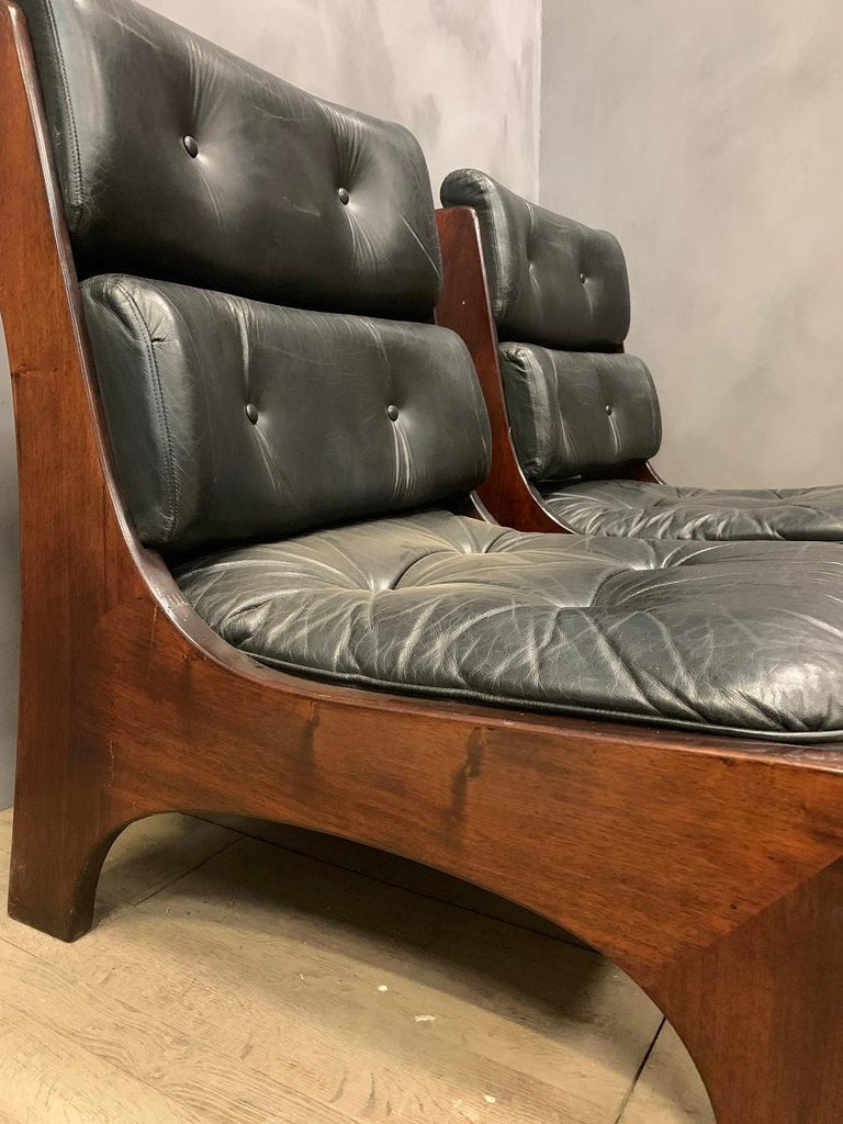 Leather Pair of Vintage Italian Lounge Chairs, 1970s For Sale