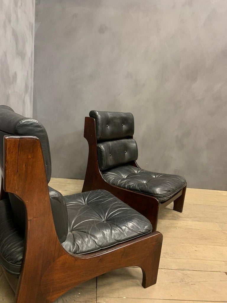 Pair of Vintage Italian Lounge Chairs, 1970s For Sale 3