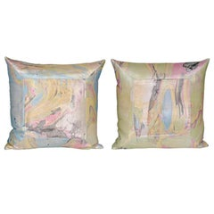 Pair of Vintage Italian Marbled Satin Blue Green Yellow Pillows with Irish Linen