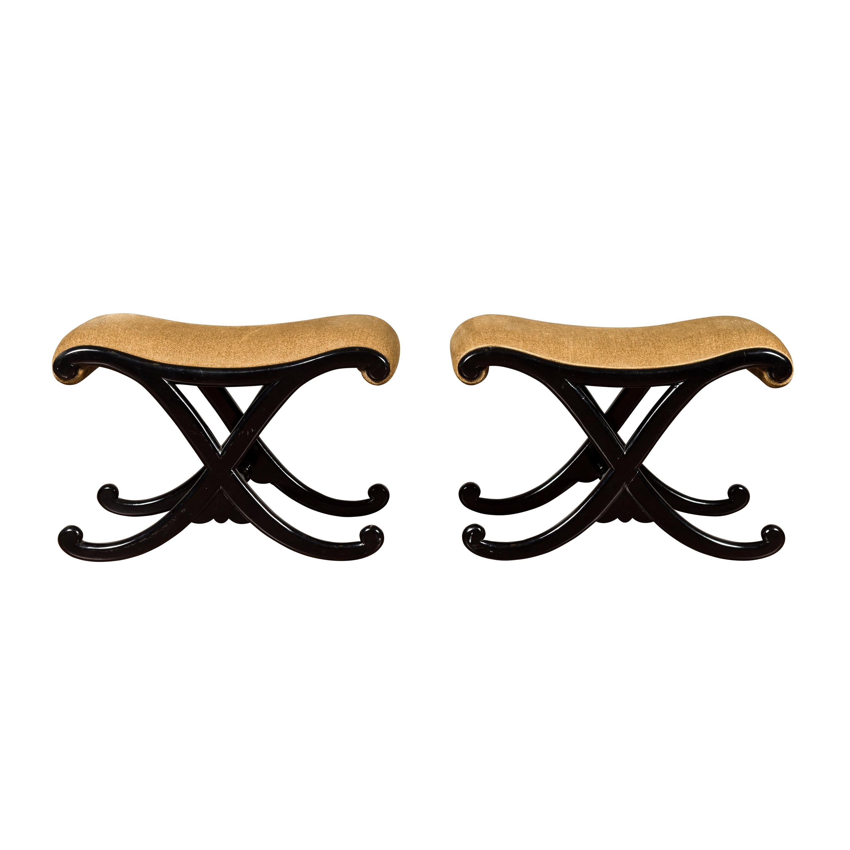 Pair of Vintage Italian Midcentury Ebonized Wood X-Form Stools with Upholstery