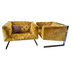 Pair of Vintage Italian Modern Tufted Velvet and Chrome Cantilver Club Chairs