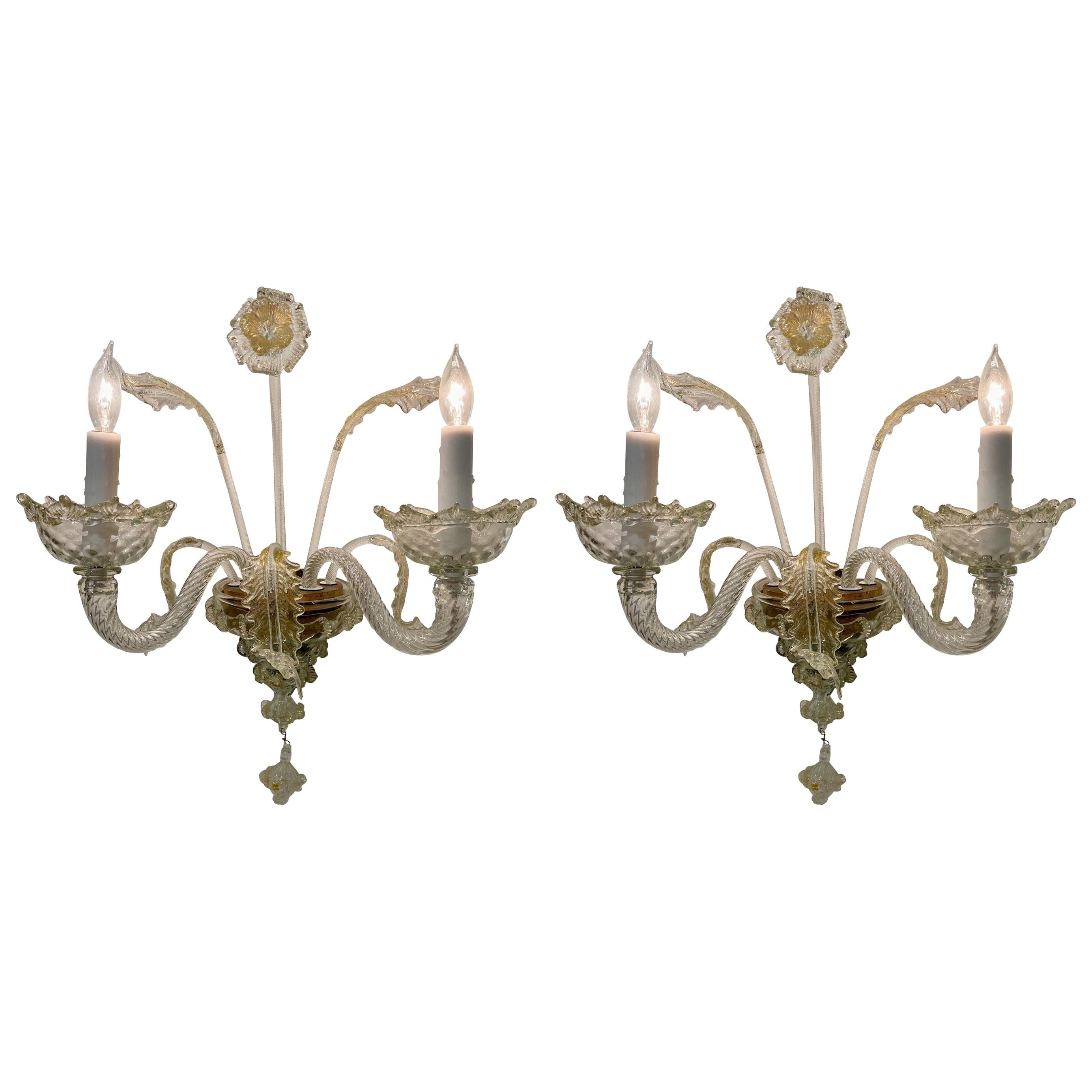 Pair of Vintage Italian Murano Glass 2-Light Sconces