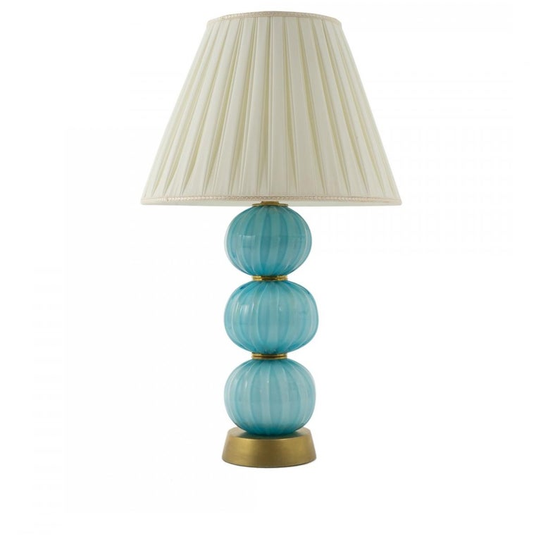 Mid-Century Modern Pair of Vintage Italian Murano Stacked Turquoise Textured Sphere Table Lamps