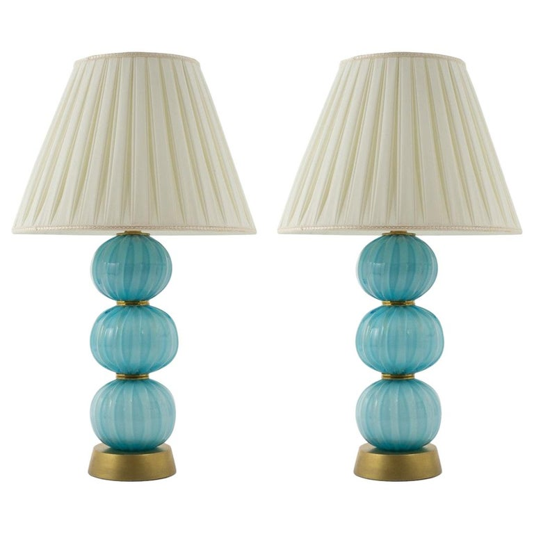 Pair of Vintage Italian Murano Stacked Turquoise Textured Sphere Table Lamps