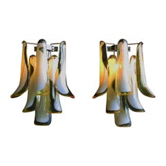 Pair of Vintage Italian Murano Wall Lights in the Manner of Mazzega, Caramel