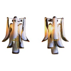 Pair of Vintage Italian Murano Wall Lights in the Manner of Mazzega, Caramel La