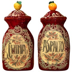 Pair of Vintage Italian Painted Blown Glass Apothecary Jars with Fruit Motifs