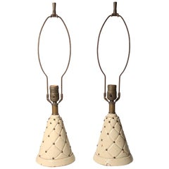 Pair of Vintage Italian Petite Leather Wrapped Lamps with Brass Studs