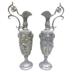 Pair of Vintage Italian Pewter Ewer with Cherub and Rams, Italy Art Nouveau