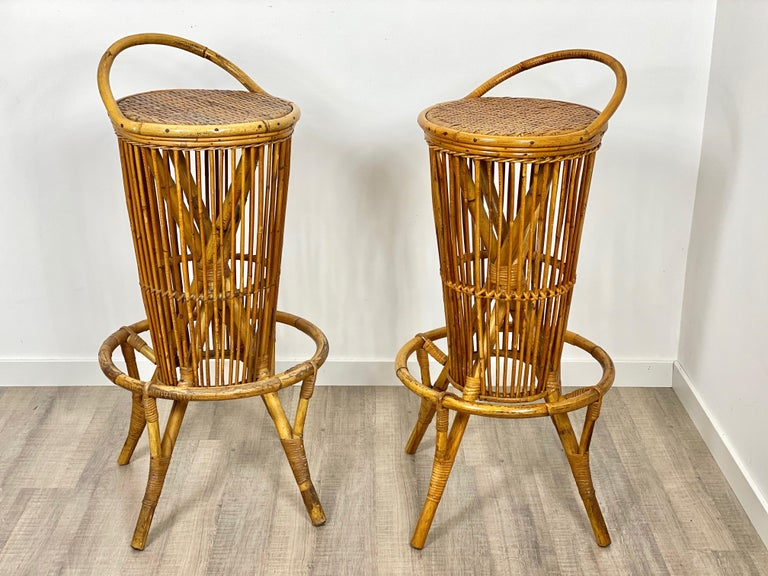 Pair of vintage bar stools in rattan, Italy, 1960s.