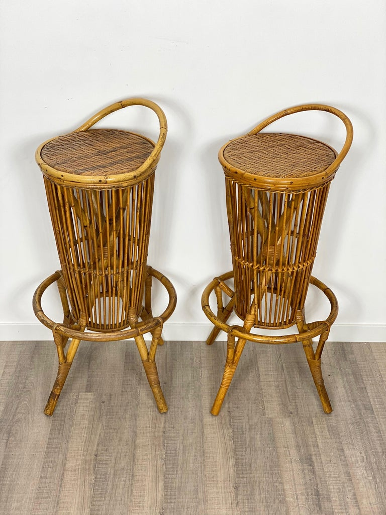 Bamboo Pair of Vintage Italian Rattan Bar Stools, 1960s For Sale