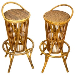 Pair of Vintage Italian Rattan Bar Stools, 1960s