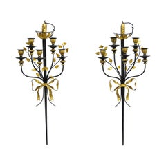 Pair of Vintage Italian Regency Black & Gold Iron Tole Sword Candle Wall Sconces