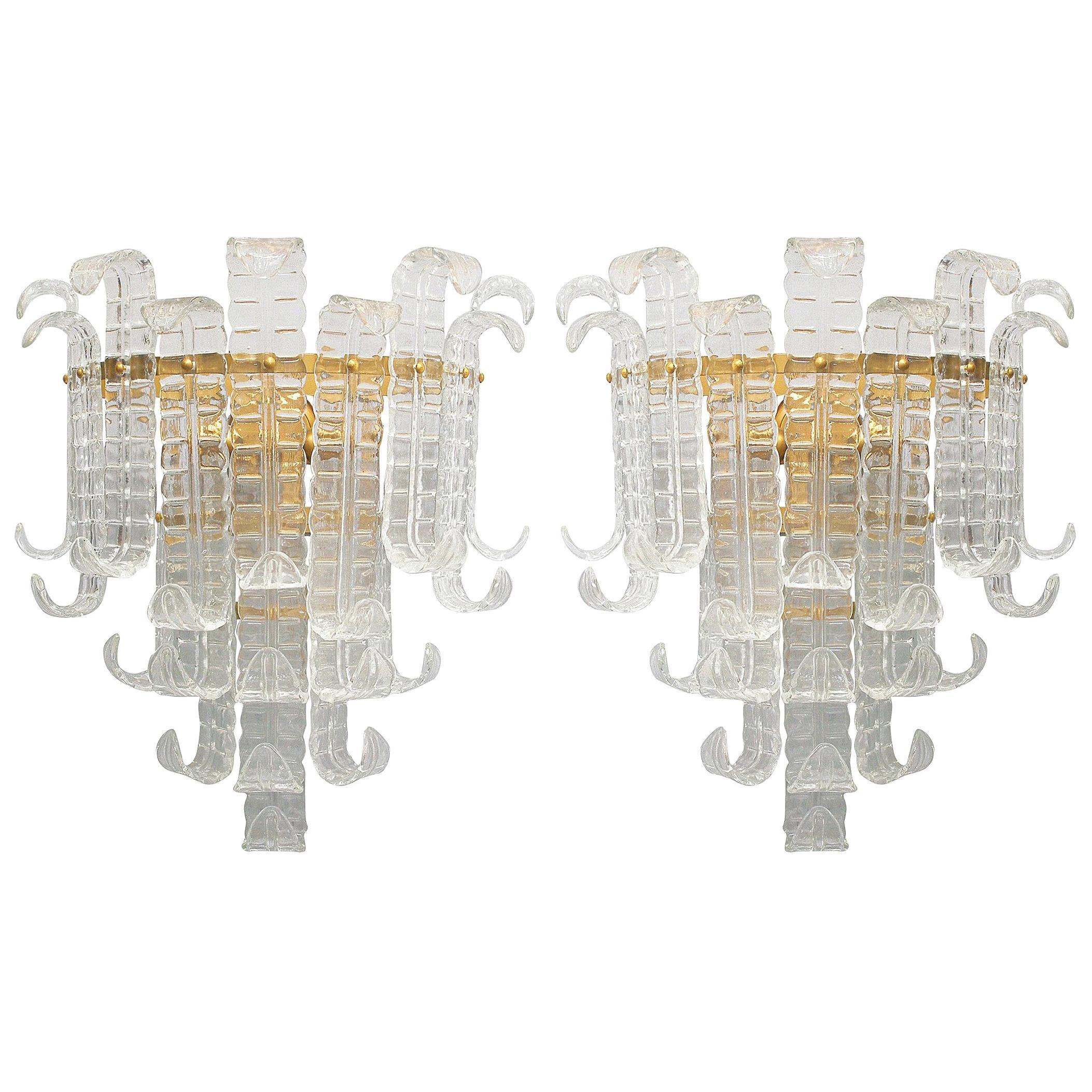 Pair of Vintage Italian Sconces Clear Murano Glass Designed by Barovier e Toso