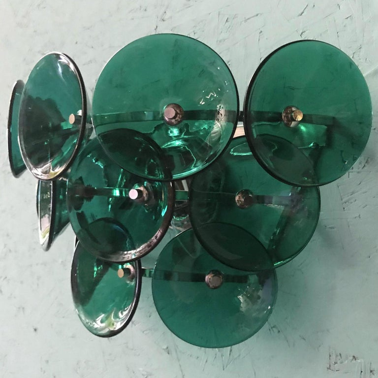 Pair of Vintage Italian Sconces Murano Glass Designed by Visoti For Sale 2
