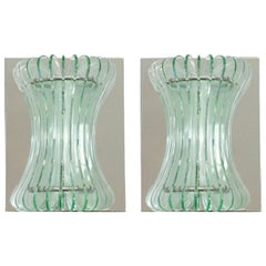 Pair of Vintage Italian Sconces w/ Beveled Glass Designed by Cristal Arte, 1960s