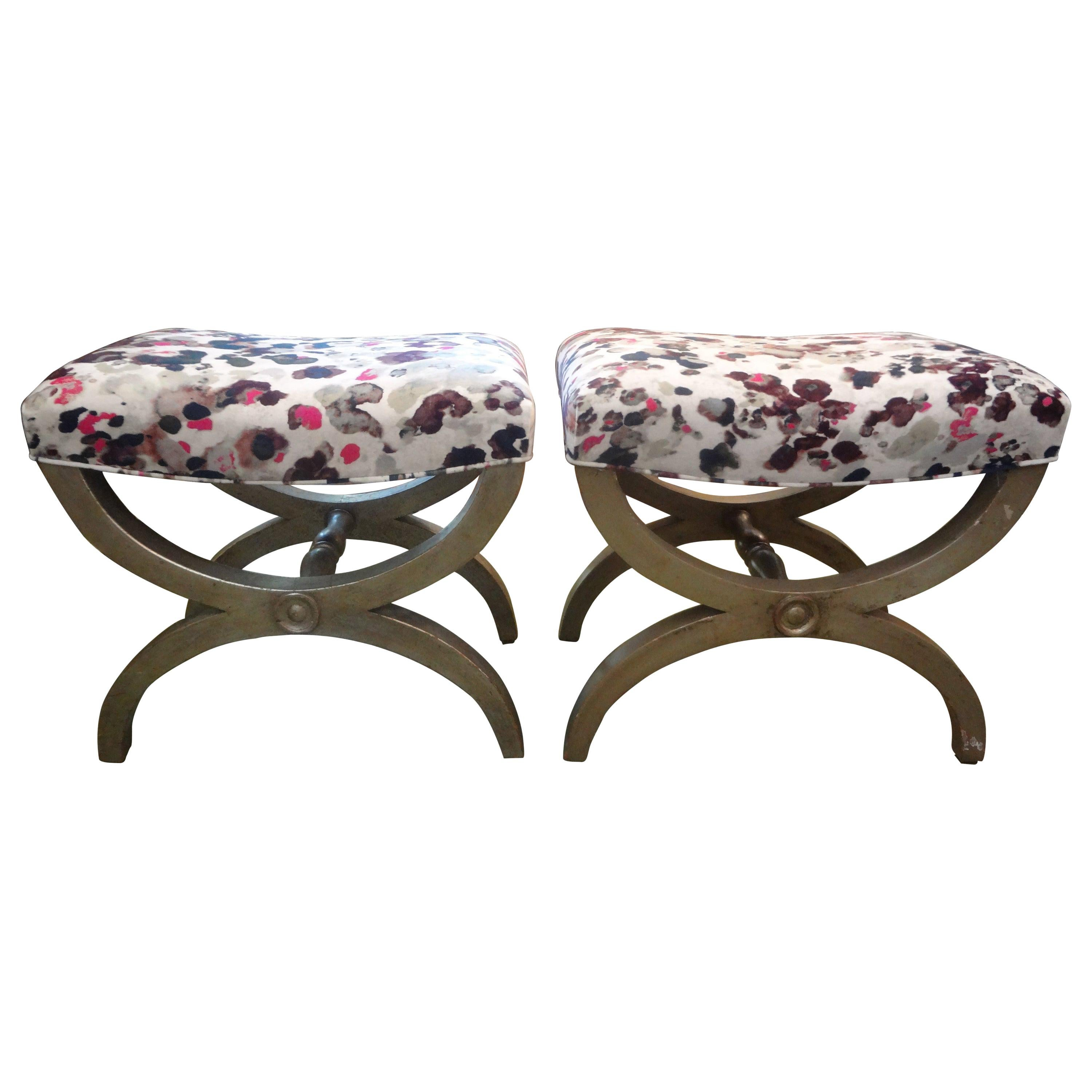 Pair of Vintage Italian Silver Giltwood Benches or Ottomans