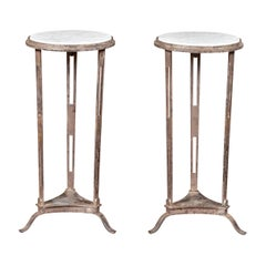 Pair of Vintage Italian Silver Leaf Drinks Tables with White Veined Marble Tops