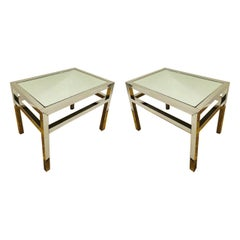 Pair of Vintage Italian Small Side Tables in Chrome and Mirror, c. 1970's