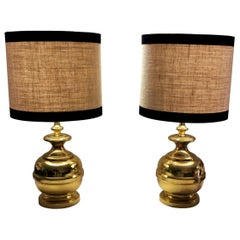 2th Century Pair of Vintage Italian Table Lamps in Polished Brass