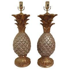 Pair of Vintage Italian Terracotta Pineapple Lamps