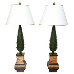 Pair of Vintage Italian Tole Topiary Lamps