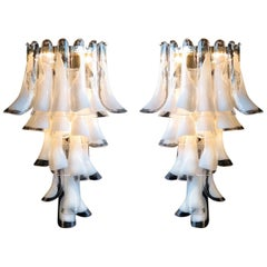 Pair of Vintage Italian Wall Lights Mazzega Style, 21 Lattimo Petals, Murano
