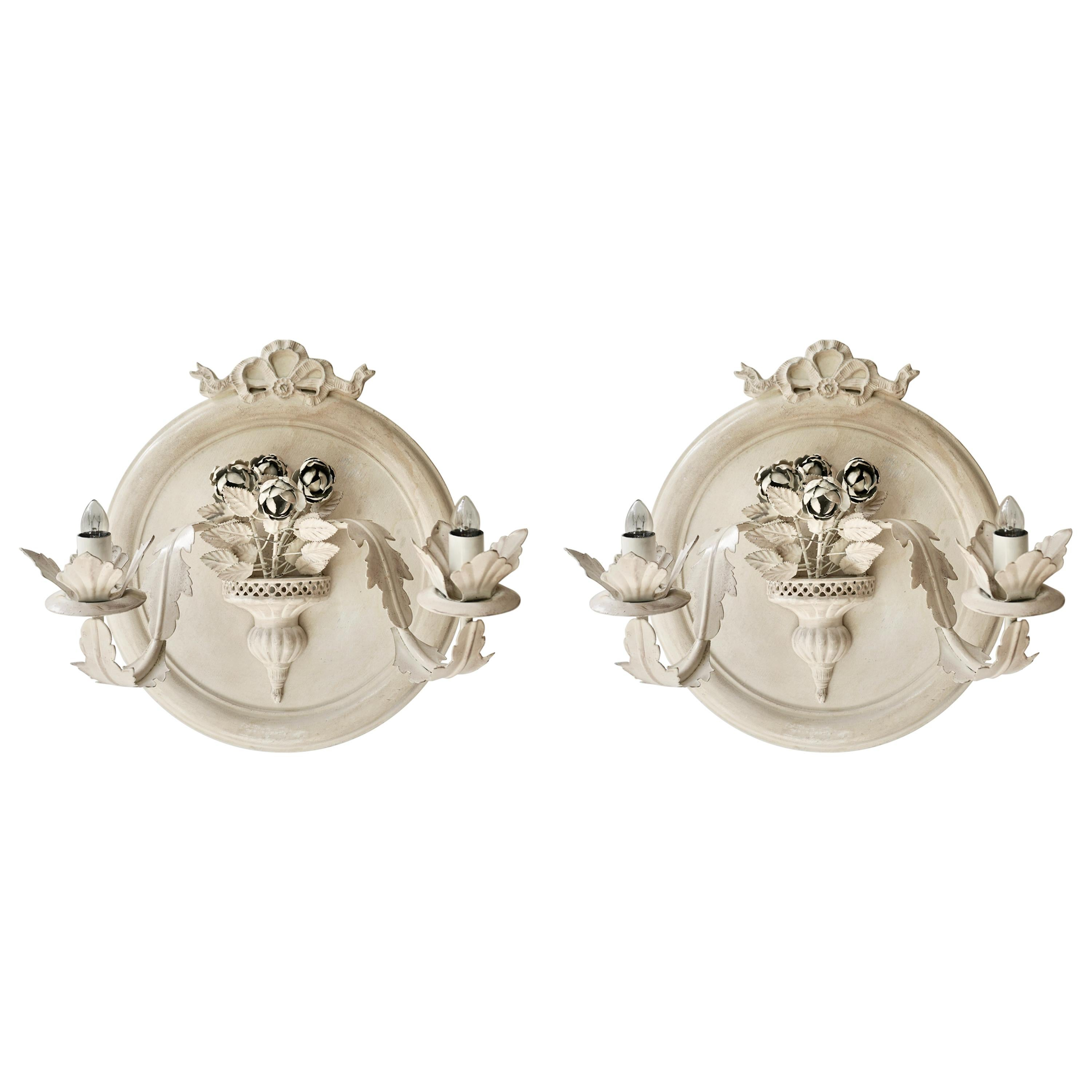 Pair of Vintage Italian White Painted Metal Electric Candle Sconces