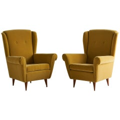 Pair of Vintage Italian Wingback Chairs in Mustard Yellow Mohair