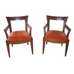 Pair of Vintage Italian Wood Armchairs '2 Pair Available'