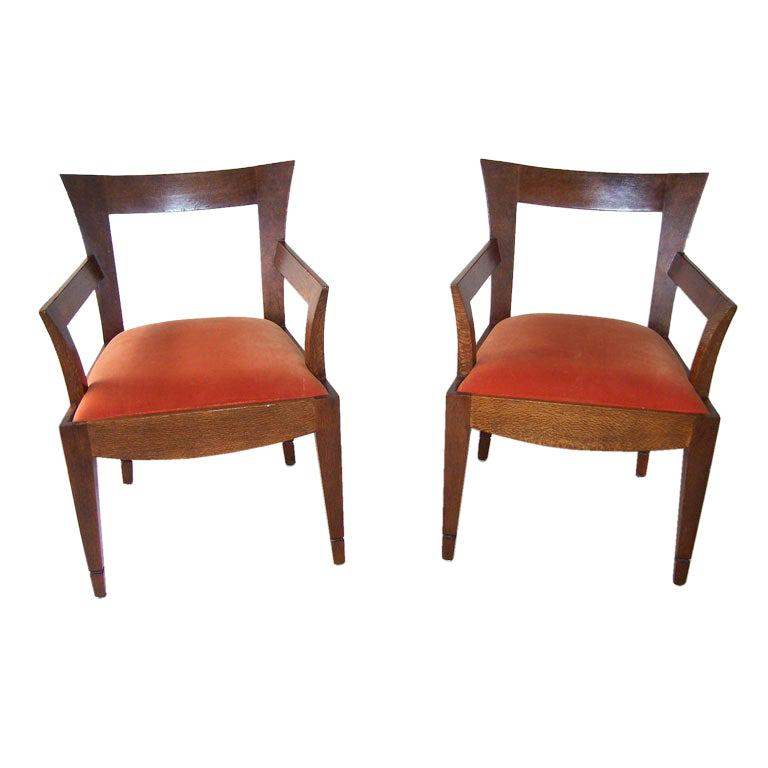 Pair of Vintage Italian Wood Armchairs '2 Pair Available' For Sale