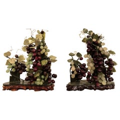 Pair of Vintage Jade and Amethyst Group of Grapes Tableware