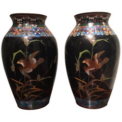 Pair of Vintage Japanese Enamel Vases with Birds
