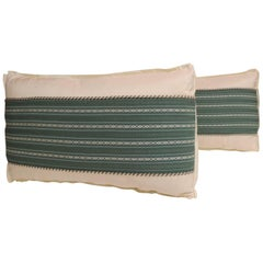 Pair of Vintage Japanese Green Obi Decorative Lumbar Pillows
