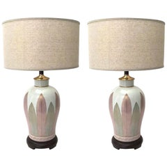 Pair of Vintage Japanese Hand Painted Fine Porcelain Lamps,  c. 1970s