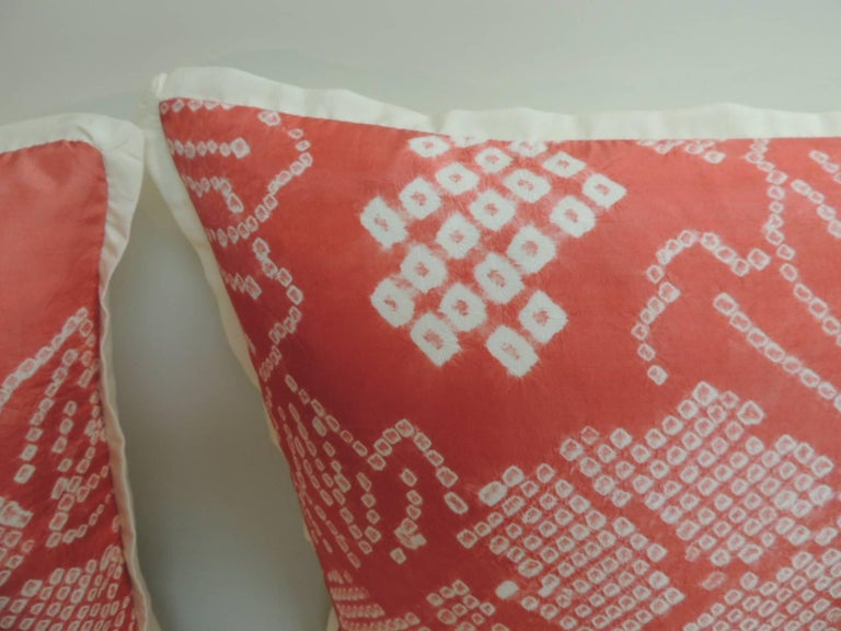 Pair of Vintage Japanese Pink and Ecru Silk Floral Decorative Pillows, custom ATG flat silk trim all around and ecru silk backings. Handcrafted with a vintage Japanese Shibori textile. Closed by hand-stitch (no zipper closure.) Handmade and designed