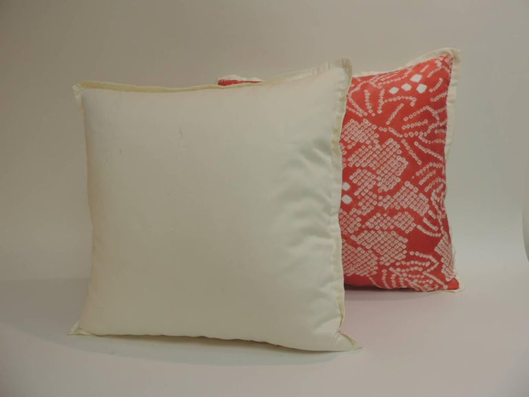 Hand-Crafted Pair of Vintage Japanese Pink and Ecru Silk Floral Decorative Pillows For Sale