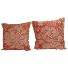 Pair of Vintage Japanese Pink and Ecru Silk Floral Decorative Pillows