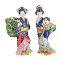 Pair of Vintage Japanese Porcelain Geisha Wall Pockets
