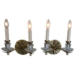 Pair of Vintage Jules Leleu French Bronze Sconces