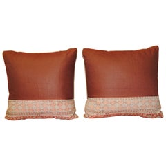 Pair of Vintage Kalamkari Indian Square Decorative Pillows