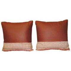 Pair of Vintage Kalamkari Indian Square Decorative Pillows