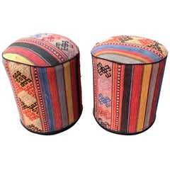 Pair of Vintage Kilim Rug Ottomans
