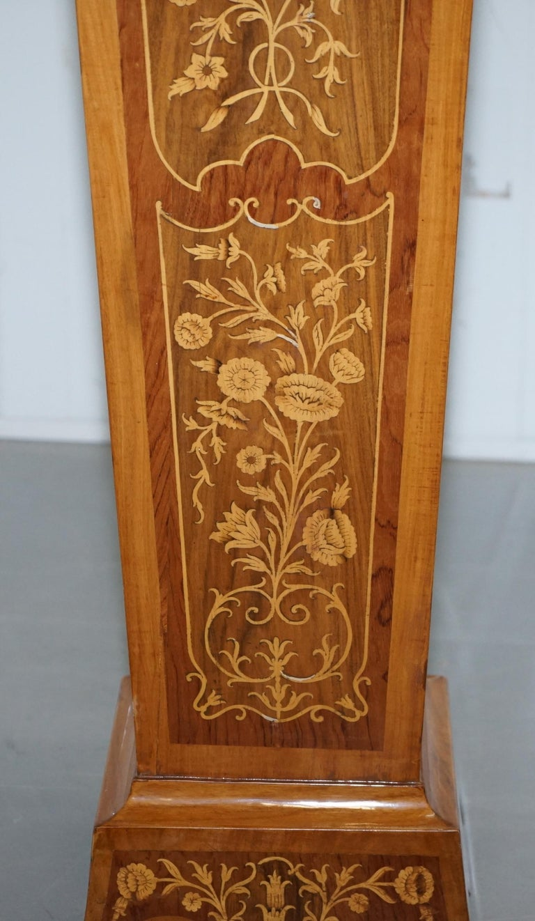 Pair of Vintage Kingwood & Rosewood & Marble Marquetry Inlaid Jardinière Stands For Sale 9