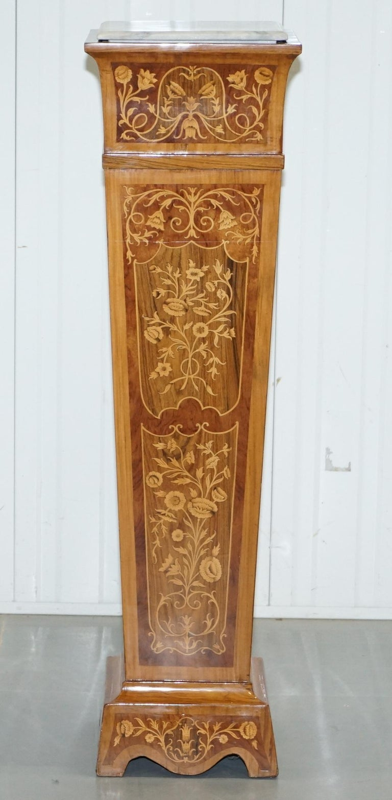 Victorian Pair of Vintage Kingwood & Rosewood & Marble Marquetry Inlaid Jardinière Stands For Sale
