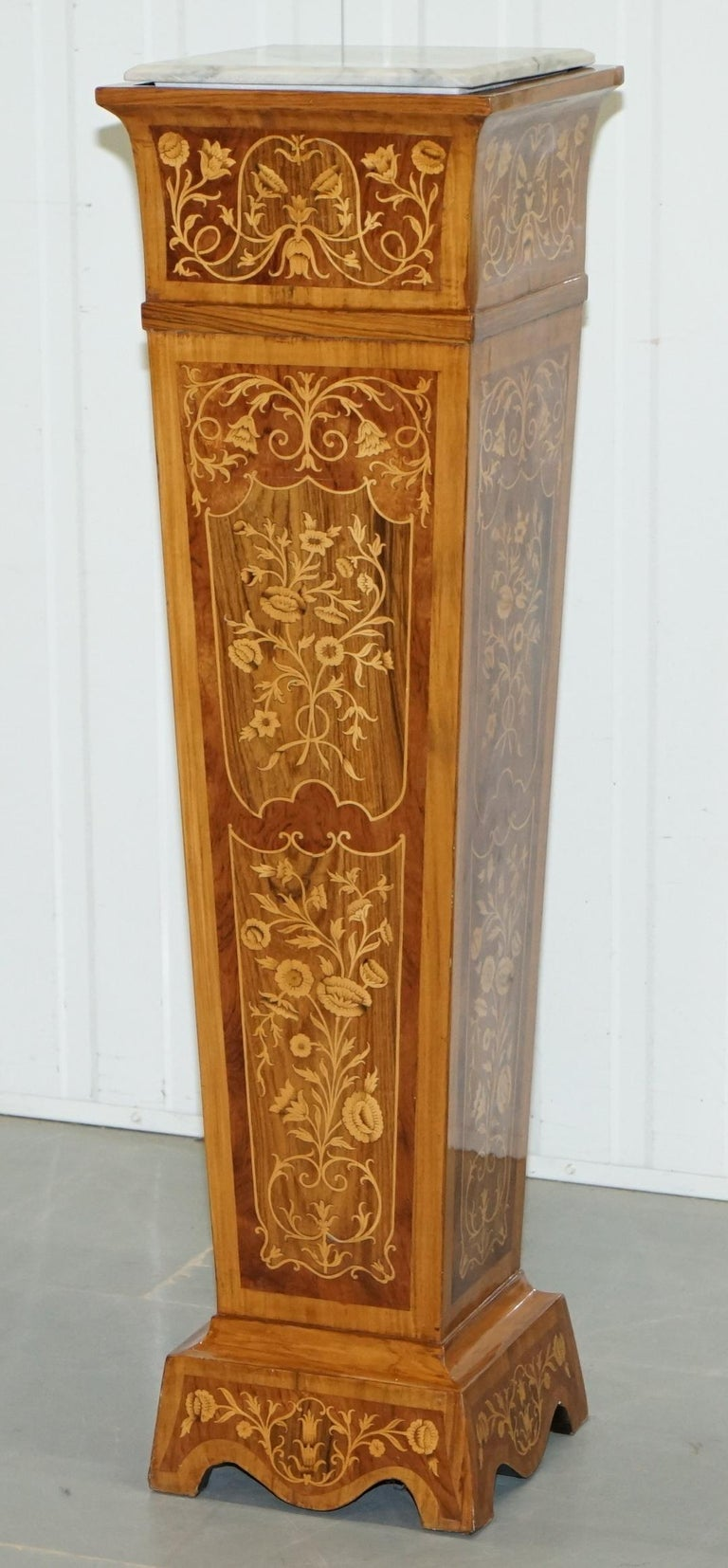 Danish Pair of Vintage Kingwood & Rosewood & Marble Marquetry Inlaid Jardinière Stands For Sale