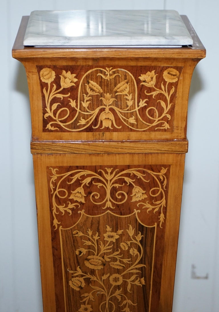Inlay Pair of Vintage Kingwood & Rosewood & Marble Marquetry Inlaid Jardinière Stands For Sale