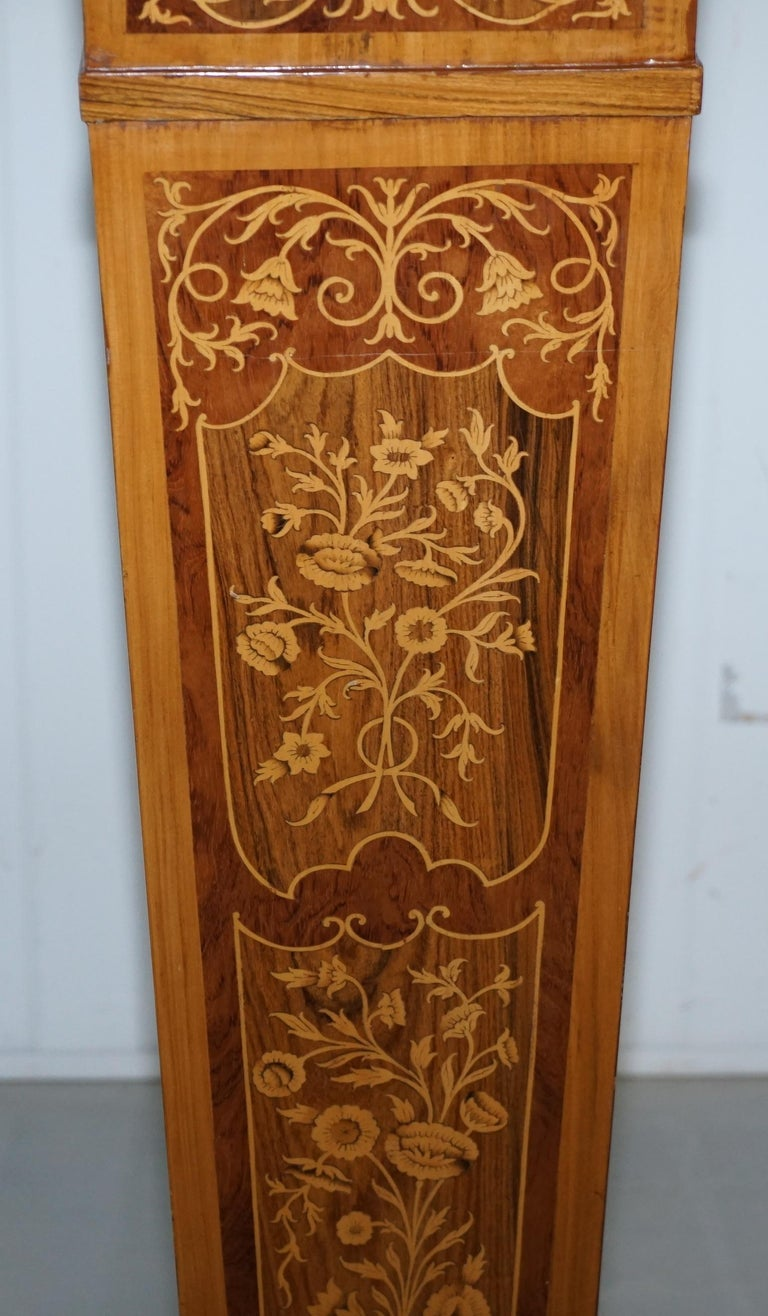 Pair of Vintage Kingwood & Rosewood & Marble Marquetry Inlaid Jardinière Stands In Good Condition For Sale In London, GB