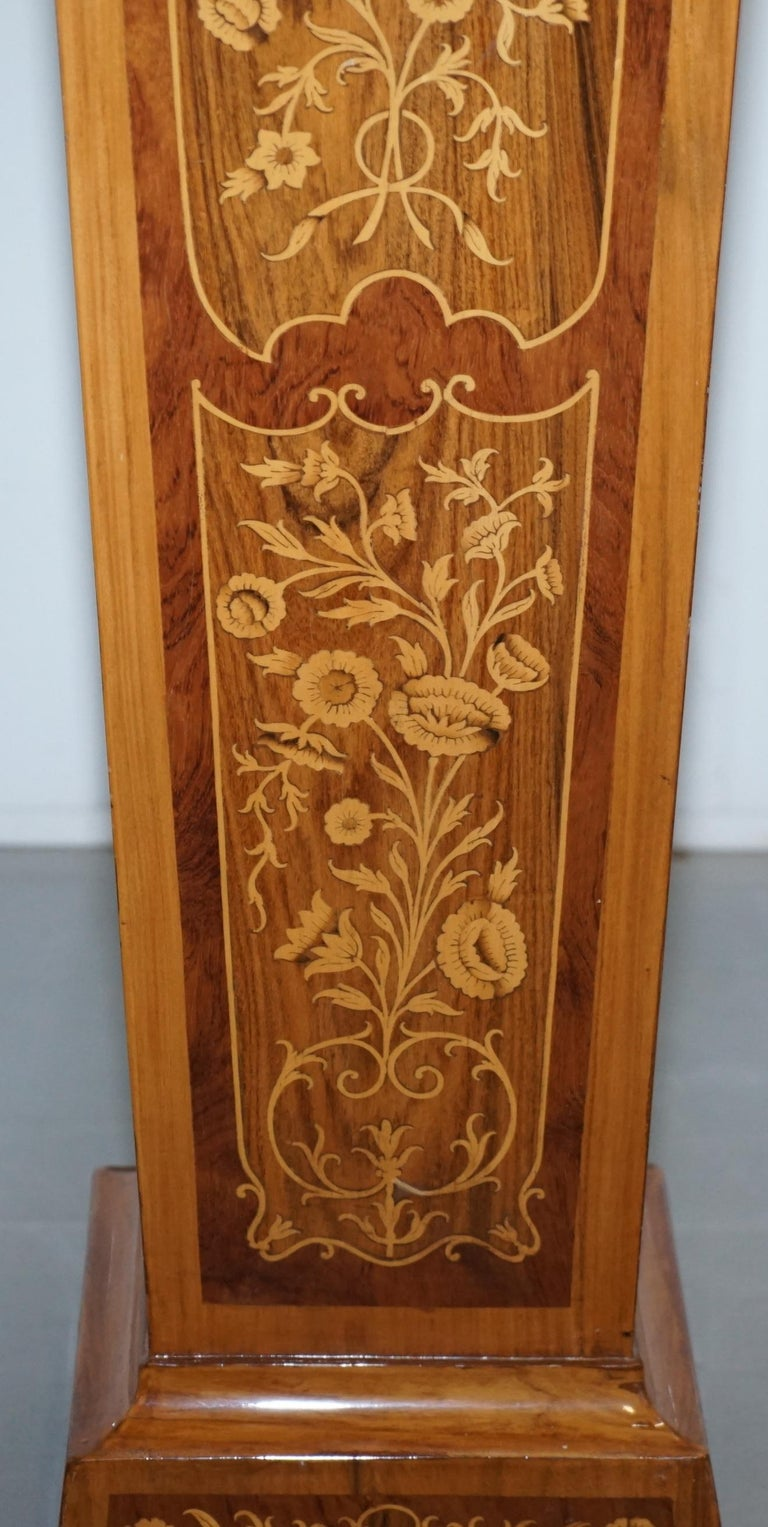 20th Century Pair of Vintage Kingwood & Rosewood & Marble Marquetry Inlaid Jardinière Stands For Sale