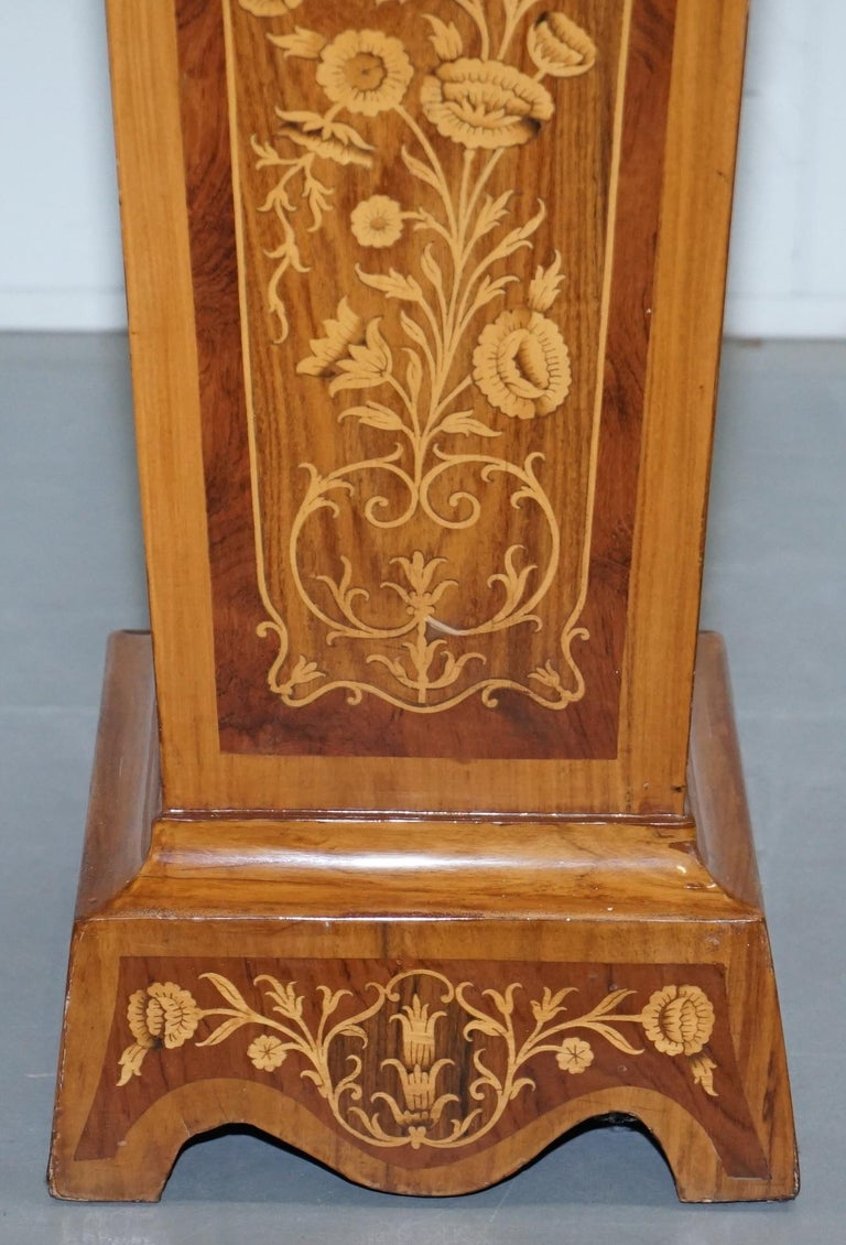 Pair of Vintage Kingwood & Rosewood & Marble Marquetry Inlaid Jardinière Stands For Sale 1